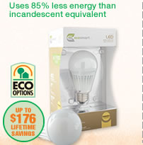 USES 85% LESS ENERGY THAN INCANDESCENT EQUIVALENT